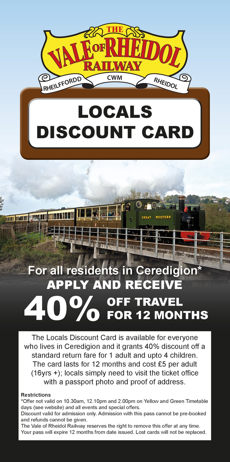 Fun Things to do in Aberystwyth, Steam Train Journeys, Locals Discount